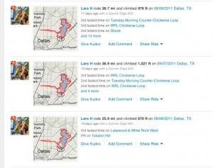 Strava Strava.com screen capture of activity