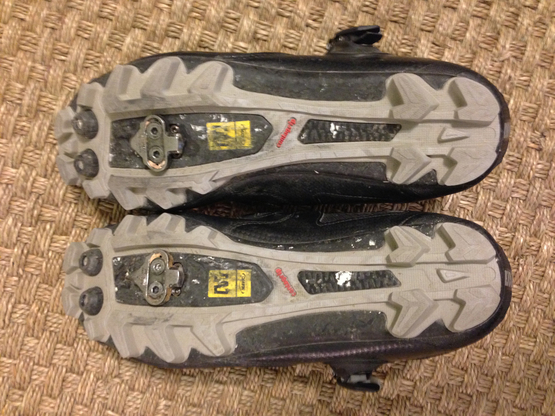 Outsole bottom of Mavic Rush cross country maountain biking shoes with spd cleats